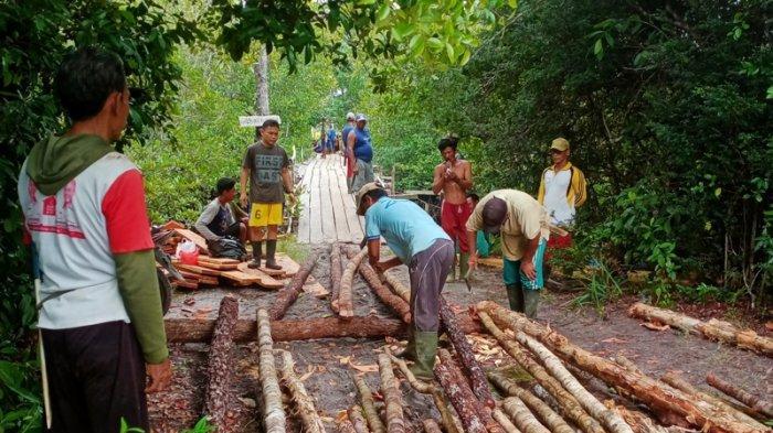 Warga Dua Desa di Kelapa Kampit Swadaya Gotong Royong Perbaiki Jembatan