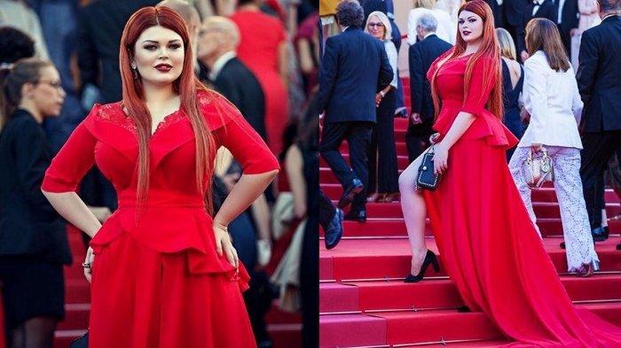 Pakai Gaun Merah, Model Ini Menelan Malu Ada yang Lepas Saat Jalan di Red Carpet