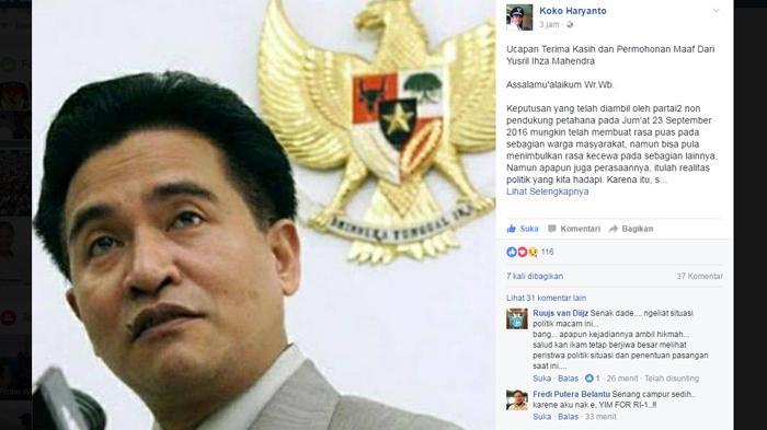 Inilah Alasan Enam Partai Menolak Usung Yusril Menuju Pilkada DKI Jakarta, Apa Kata Yusril?