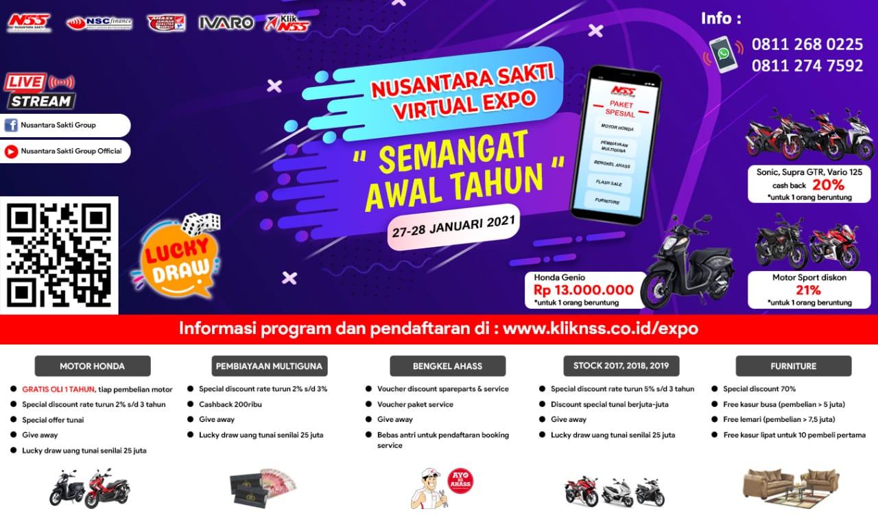 PT Nusantara Surya Sakti akan mengadakan virtual expo pertama di tahun 2021 yang dilaksanakan pada tanggal 27-28 januari 2021- NSS virtual expo semangat awal tahun (Rabu, 26/01/2021)