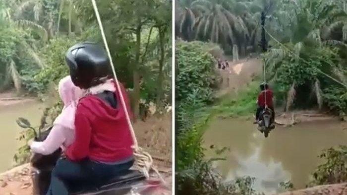 Viral karena Tak Ada Jembatan, 2 Wanita Ini Nyebrang Sungai Pakai Motor Ala Flying Fox