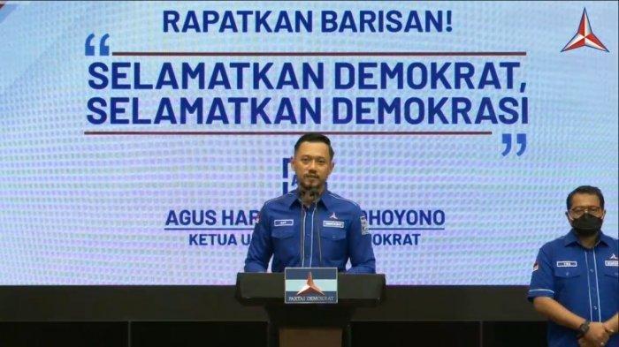 Konferensi Pers Ketua Umum Partai Demokrat Agus Harimurti Yudhoyono, Jumat (5/3/2021).