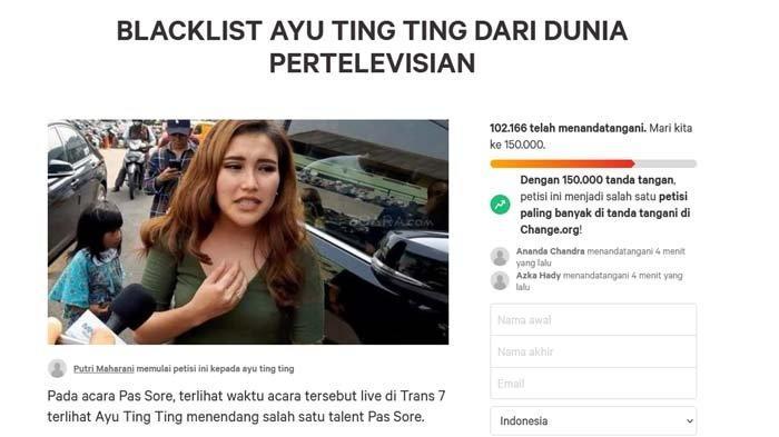 Petisi boikot Ayu Ting Ting tembus angka 102.000