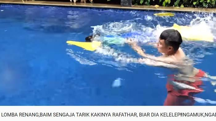 Baim Wong bikin Rafathar hampir tenggelam, anak Raffi beri pembalasan, langsung ditegur Nagita