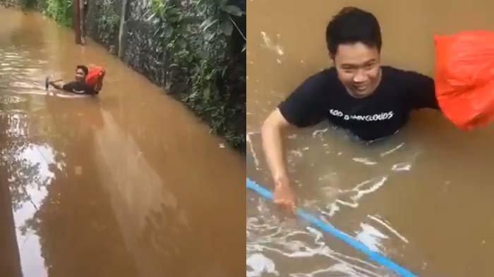 Viral Aksi Kevin Terobos Banjir Demi Antar Makanan untuk Teman, Tempuh Perjalanan Pamulang ke Kemang