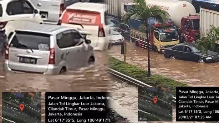 VIDEO Tol JORR Pasar Minggu Tergenang Banjir, Ratusan Kendaraan Terendam dan Tak Bergerak
