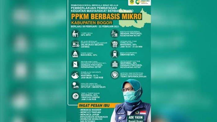 Pemberlakuan Pembatasan Kegiatan Masyarakat (PPKM) Berbasis Mikro di Kabupaten Bogor mulai berlaku, Selasa (9/2/2021).