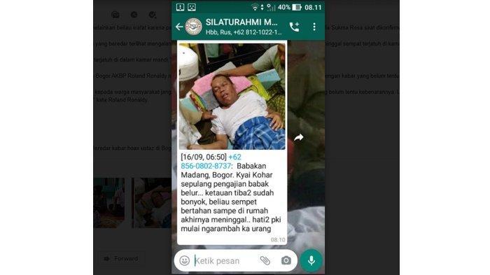 Beredar kabar hoax ustaz di Bogor meninggal dunia karena dikeroyok orang tak dikenal.