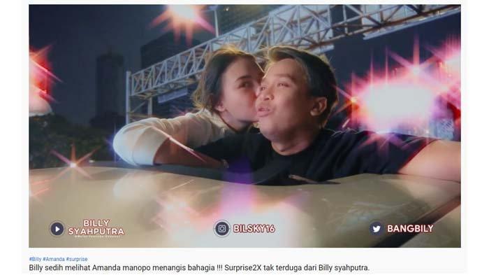 Amanda Manopo cium Billy Syahputra usai dapat hadiah mengejutkan