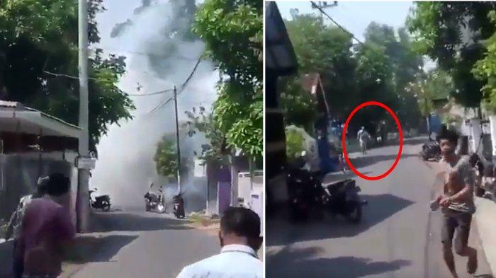 Detik-Detik Bom Meledak di Pasuruan,Warga Lari Saat Terduga Pelaku Keluar dan Terjadi 3 Kali Ledakan