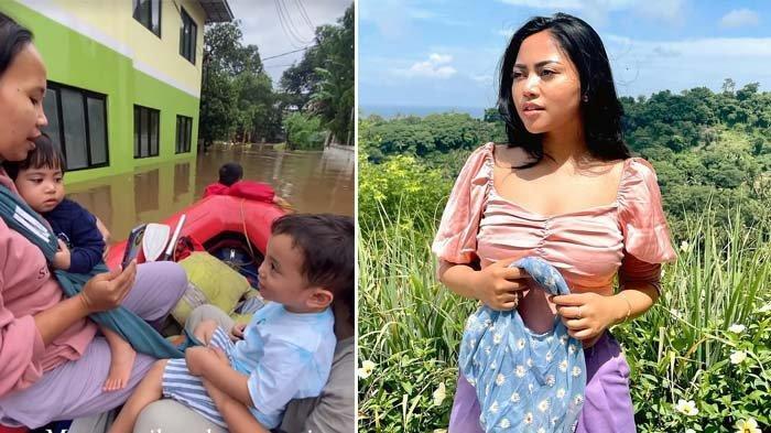 Asyik Liburan, Rachel Vennya Panik Anaknya Ngungsi karena Banjir, Video Xabiru Naik Perahu Disorot