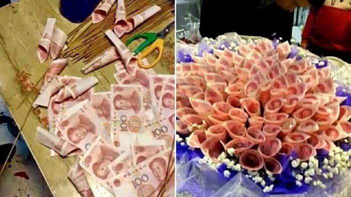 Pria Ini Beri Hadiah Spesial untuk Kekasihnya Berupa Bucket Bunga yang Terbuat dari Uang Rp 20 Juta