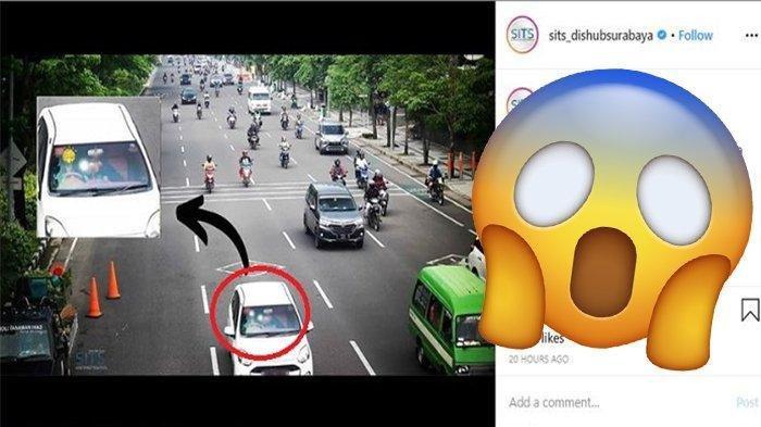CCTV Dishub Surabaya Rekam Gerak-gerik Mencurigakan Pengendara Mobil : Nah Kan Terciduk