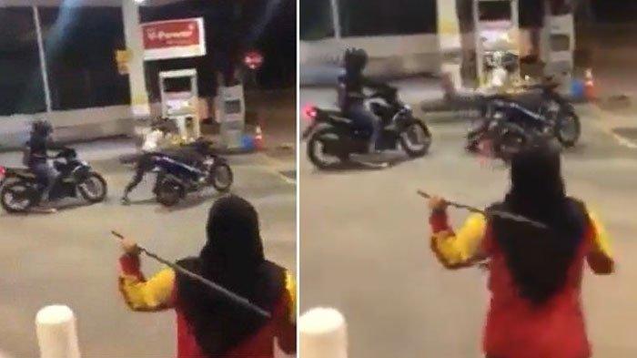 Viral Pegawai SPBU Kejar Pencuri Sepeda Motornya, Teman Laki-Lakinya Takut Mengejar