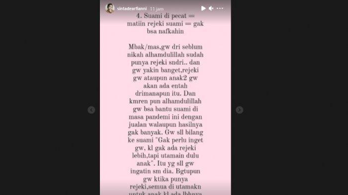curhat sinta dituding matiin rejeki suami (Instagram @sintadearfianni)