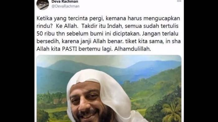 Curhatan pilu Deva Rachman ditinggal wafat suami, Syekh Ali Jaber (Twitter)