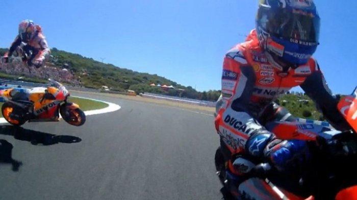 Ngeri! Ini Video Tabrakan Beruntun antara Jorge Lorenzo, Andrea Dovizioso, dan Dani Pedrosa