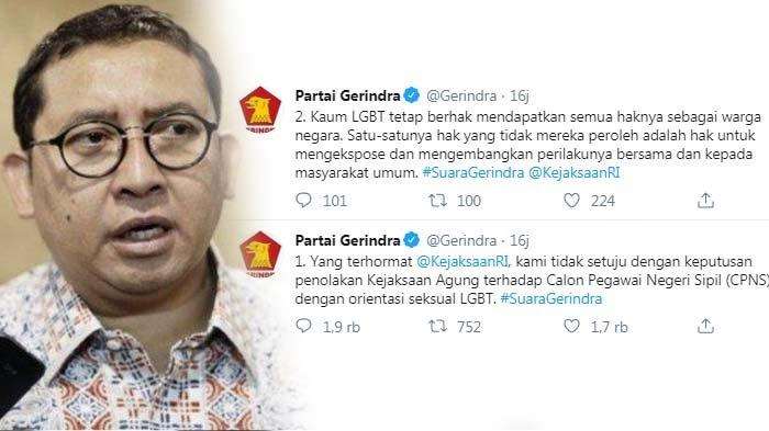 Heboh Kicauan Partai Gerindra Tolak Aturan Kejagung soal CPNS LGBT, Fadli Zon Bereaksi Keras