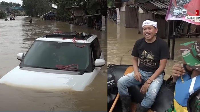 Detik-detik Mobil Dedi Mulyadi Kejebak Banjir saat Bagikan Bantuan, Pilih Pulang Naik Perahu : Nasib