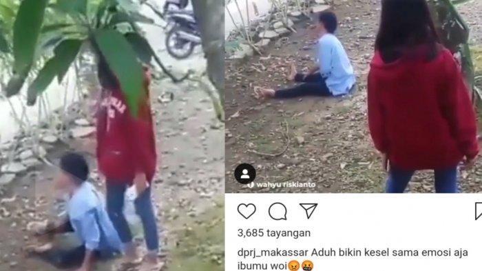 Dilarang Main, Bocah Ini Dorong Ibu hingga Tersungkur ke Tanah, Nyalinya Ciut saat Didatangi Polisi