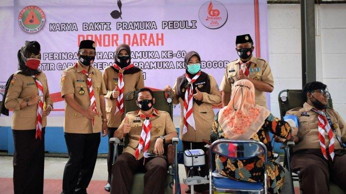 Bantu Penderita Thalasemia, Anggota Pramuka Kota Bogor Donorkan Darahnya