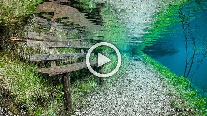 Menakjubkan ! Ada Taman di Bawah Danau Alami Ini, Rahasianya Terjawab Saat Musim Panas