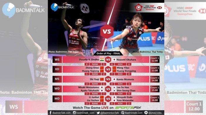 Link Live Streaming Final BWF World Tour Finals 2018 -  Siaran Langsung TVRI Mulai Pukul 12.00 WIB