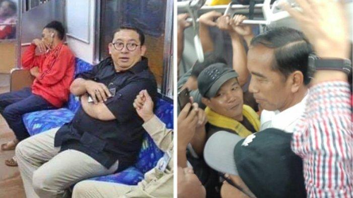 Foto Jokowi Naik KRL Disandingkan dengan Fadli Zon di Kereta, Pedangdut Ini Tertawa : Menikmati Juga