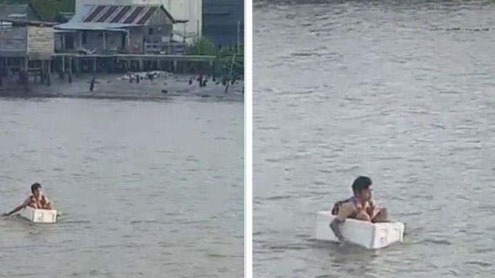 Viral Aksi Bocah Seberangi Sungai Pakai Styrofoam Demi Berangkat Sekolah, Ini Kata Kepala Desa