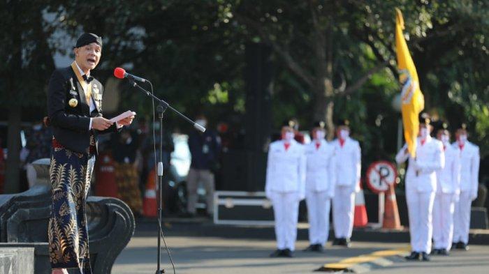 Tak Ada Pesta, Ulang Tahun ke-70 Provinsi Jateng Digelar Sederhana, Ganjar Pranowo Potong Tumpeng