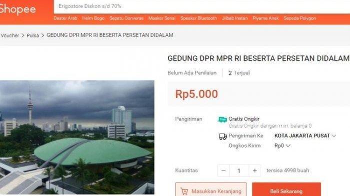 Gedung DPR dijual di marketplace, salah satunya di Shopee.