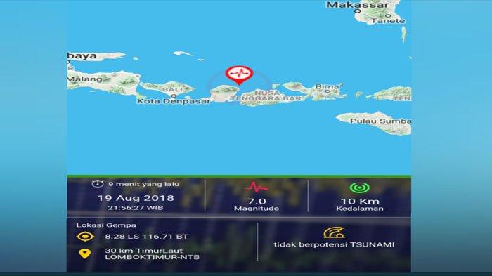 Gempa Susulan Bermagnitude 7,0 Guncang Lombok, Tidak Berpotensi Tsunami