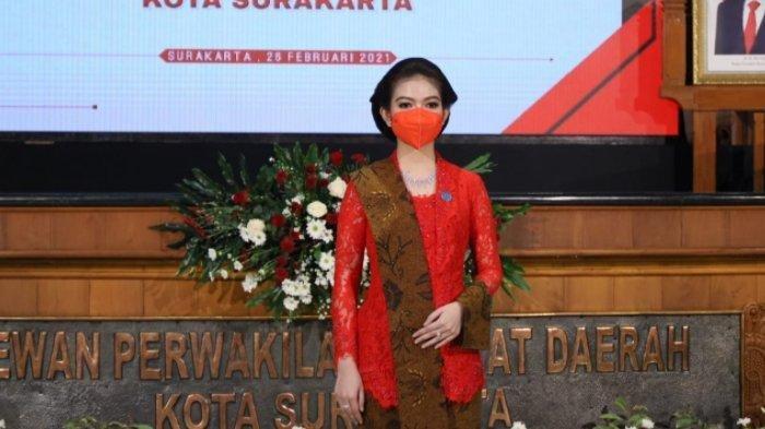 Istri Gibran Rakabuming, Selvi Ananda di acara pelantikan Gibran sebagai Wali Kota Solo, Jumat (26/2/2021).