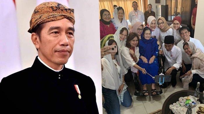 Silaturahmi Usai Shalat Jumat, Pose Jokowi Bersimpuh di Samping Kursi Roda Istri Wapres Jadi Sorotan