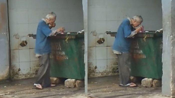 Kakek Ini Kelaparan Mengais Sampah Demi Cari Sesuap Makanan, Selalu Tolak Saat Diberi Uang