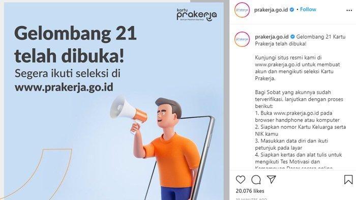 Kartu Prakerja Gelombang 21 sudah resmi dibuka