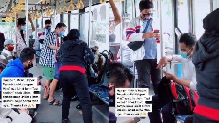 Viral Video Wanita Beri Kursinya Pada Kakek di Transjakarta, Sikap Pria Depannya Diperbincangkan