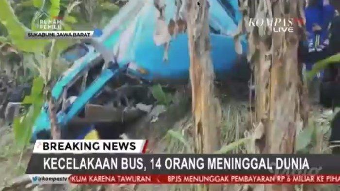Korban Tewas dalam Kecelakaan Bus di Sukabumi Bertambah Jadi 14 Orang, 17 Luka-luka