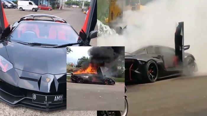 Cara Polisi Padamkan Mobil Raffi Ahmad yang Terbakar di Sentul, Lamborghini Disiram Truk Tangki Air