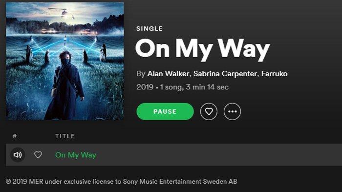 Link download lagu Alan Walker On My Way via Spotify.
