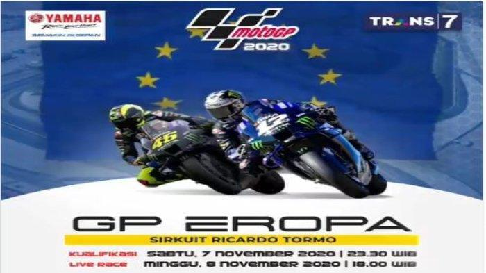 Siaran Langsung MotoGP 2020 Seri MotoGP Eropa di Sirkuit Ricardo Tomo, Live Trans7