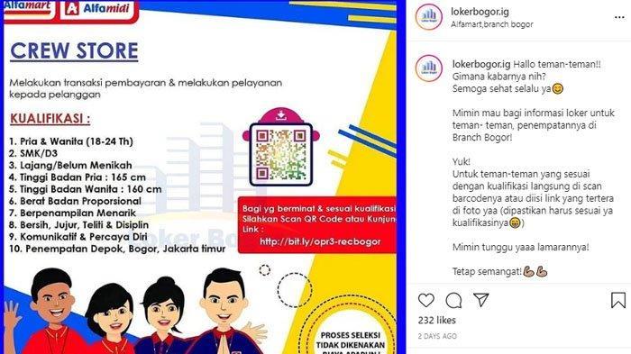LOker Alfamart dan Alfamidi penempatan di Depok, Bogor dan Jakarta Timur