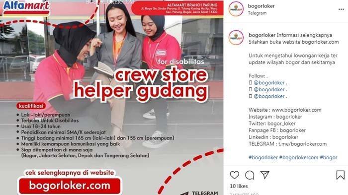INFO LOKER BOGOR - Alfamart Buka Lowongan Kerja untuk Lulusan SMA/SMK, Terbuka untuk Disabilitas