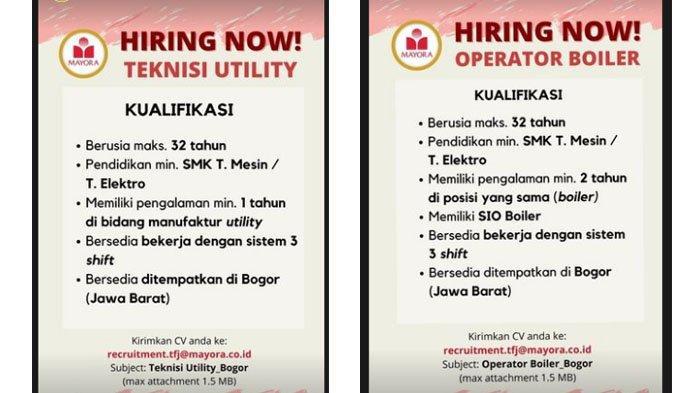 PT Mayora Buka Lowongan Kerja Posisi Ini untuk Lulusan SMK dan D3, Bersedia Ditempatkan di Bogor