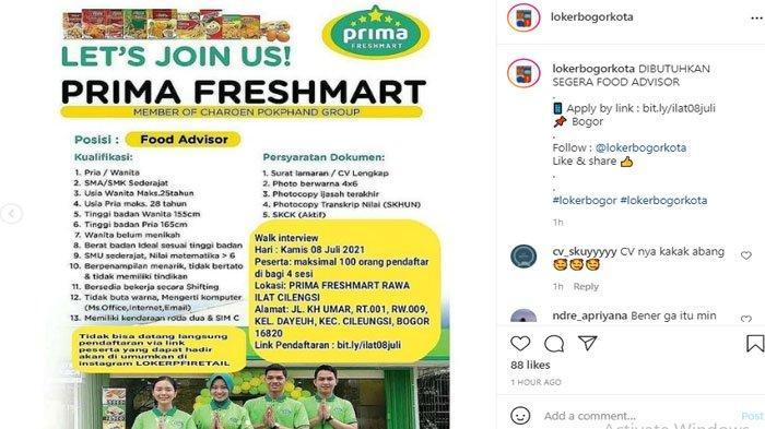 Prima Freshmart Buka Lowongan Kerja untuk Lulusan SMA/SMK, Walk In Interview tanggal 8 Juli 2021