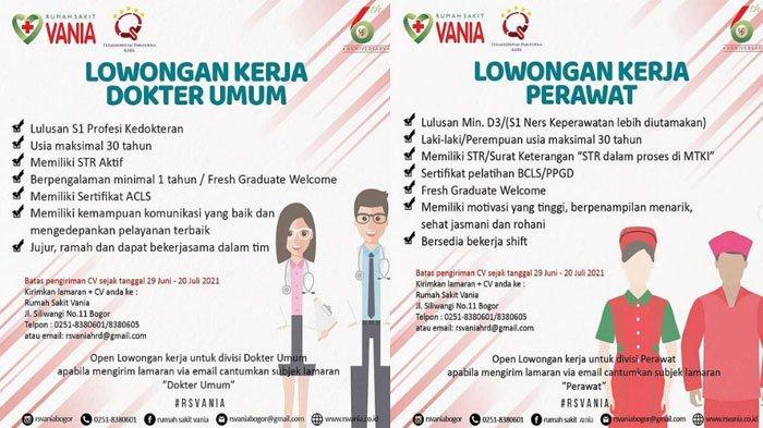 Dibuka Sampai 20 Juli 2021, RS Vania Buka Lowongan Kerja untuk Dokter Umum, Perawat hingga Apoteker
