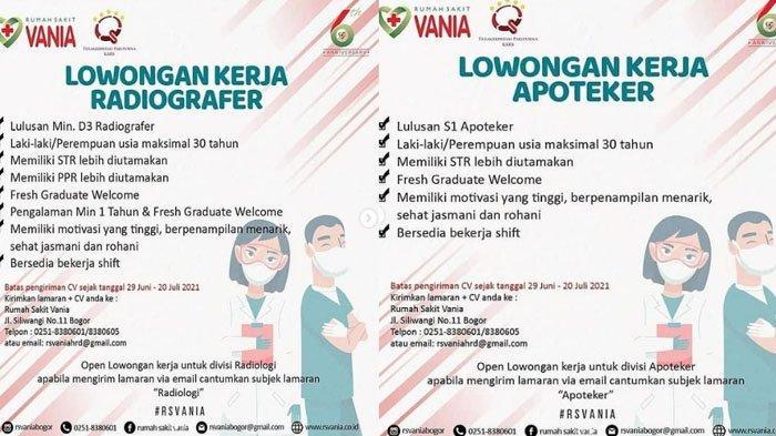 Info Loker Bogor - RS Vania Buka Lowongan Kerja untuk Dokter Umum, Perawat hingga Apoteker