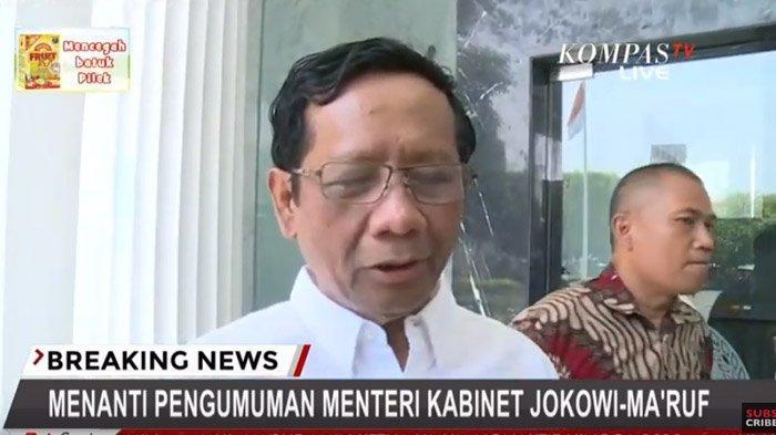Akan Dilantik Jadi Menteri Kabinet Jokowi-Maruf Amin Rabu Pagi, Mahfud MD: Bisa Jadi Menteri Agama