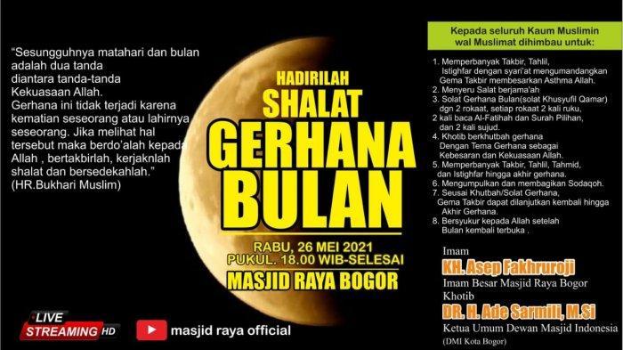 Masjid Raya Kota Bogor Akan Gelar Shalat Gerhana Bulan Besok Malam