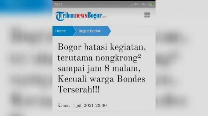 Beredar Meme Kocak Edit Judul Berita Soal Pembatasan Kegiatan di Bogor : Pusing Lah !